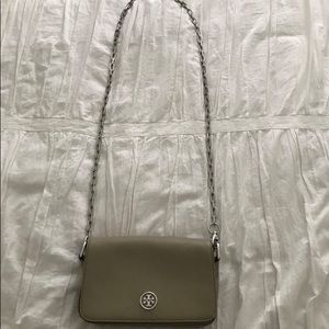 Gray Crossbody Tory Burch with silver hardware